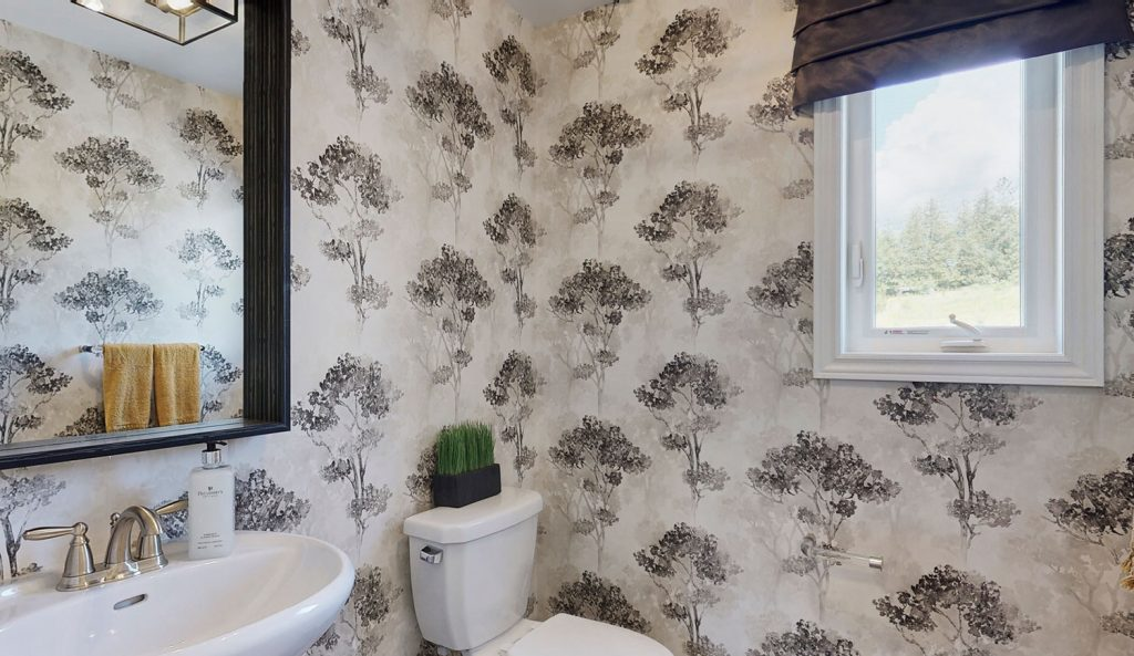 Picture Homes Model Home - Powder Room with Decorative Tree Wallpaper